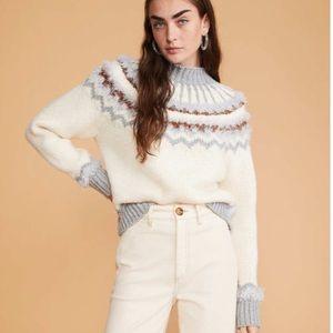 NWT LOU & GREY White Fuzzy Fair Isle Sweater